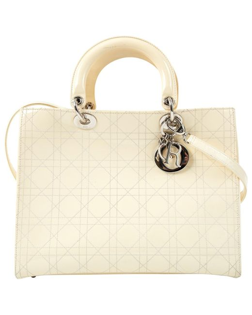 Dior - Natural Lady Patent Leather Handbag - Lyst