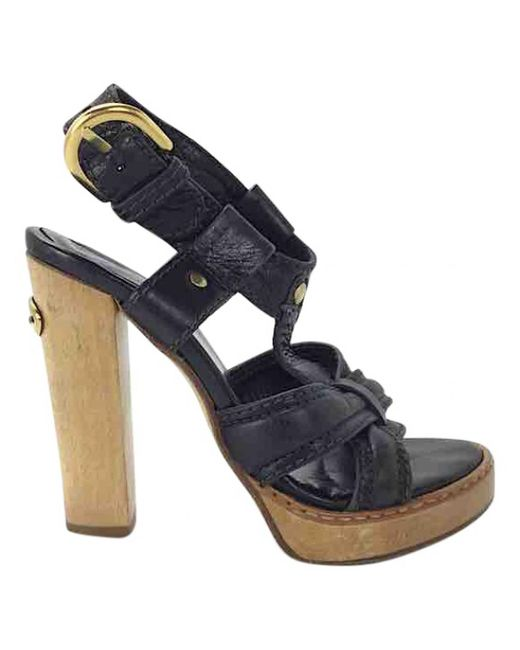 Chloé - Pre-owned Black Leather Sandals - Lyst