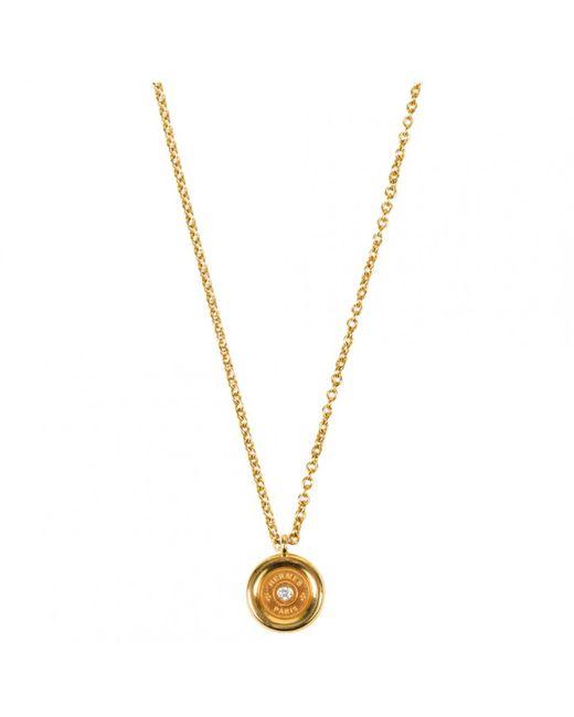 Hermès - Metallic Clou De Selle Yellow Gold Necklace - Lyst