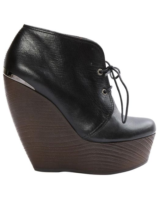Lanvin - Pre-owned Black Leather Ankle Boots - Lyst