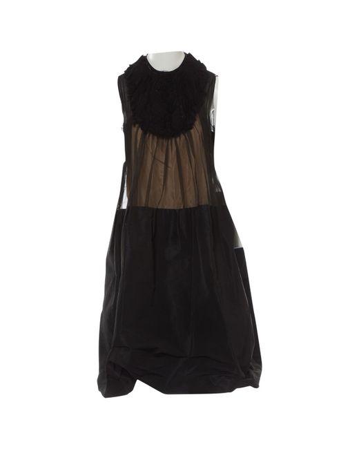 Lanvin - Black Pre-owned Silk Mid-length Dress - Lyst