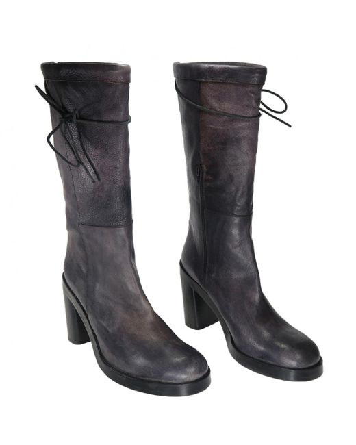 Ann Demeulemeester - Gray Leather Boots - Lyst