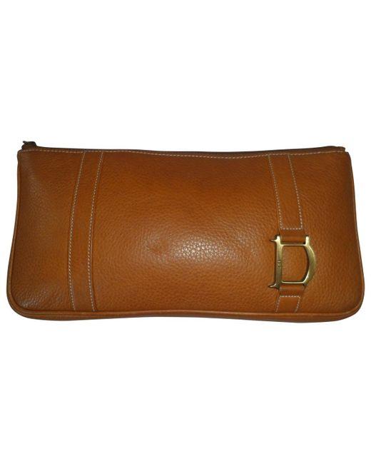 Dior - Brown Vintage Camel Leather Clutch Bag - Lyst