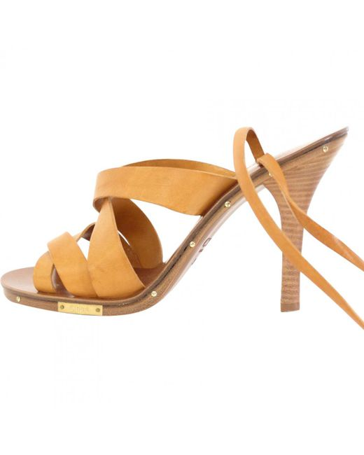 Chloé - Multicolor Pre-owned Camel Leather Sandals - Lyst