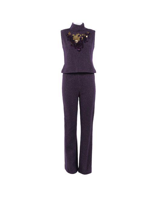 Chanel - Purple Pre-owned Wool Jumpsuit - Lyst