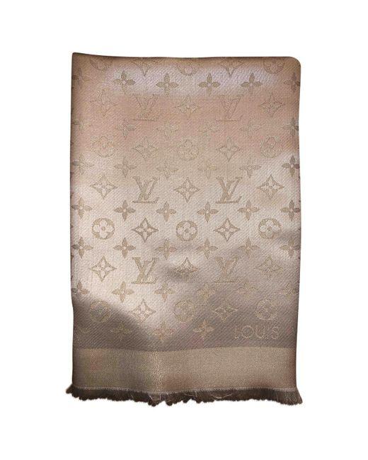 561b23e640fc Lyst - Louis Vuitton Châle Monogram Shine Wool Scarf in White