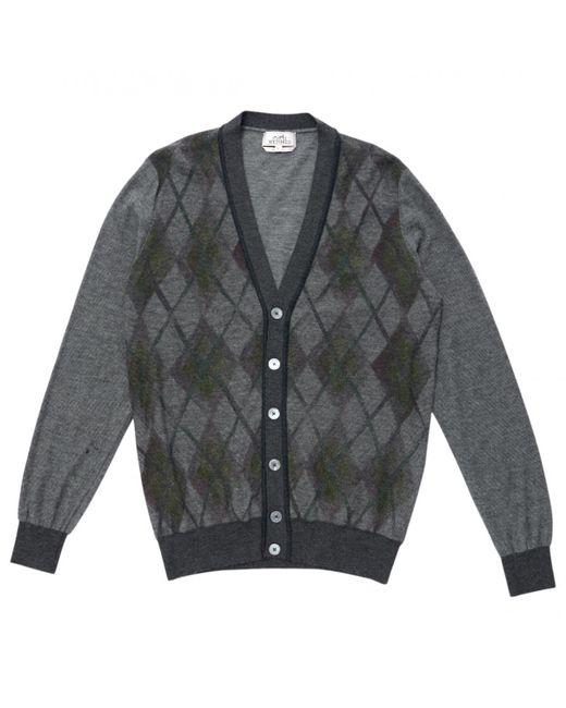 Hermès - Gray Pre-owned Wool Cardigan for Men - Lyst