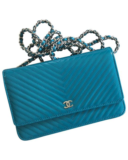 Chanel - Blue Wallet On Chain Patent Leather Crossbody Bag - Lyst