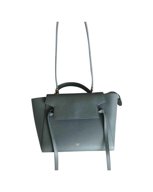 Céline - Gray Belt Leather Handbag - Lyst