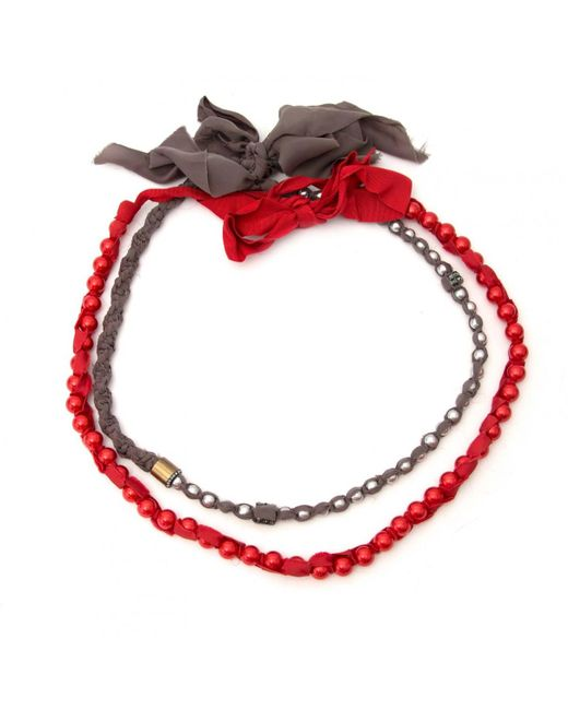 Lanvin - Red Cloth Necklace - Lyst