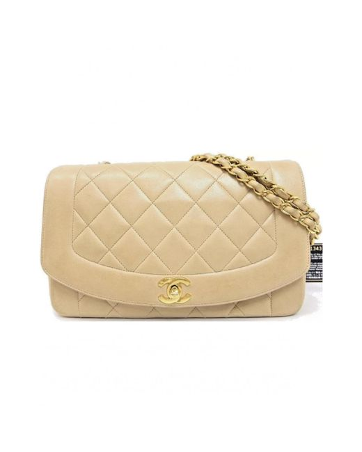 Lyst - Chanel Diana Leather Crossbody Bag in Natural bdb69f54be5f7