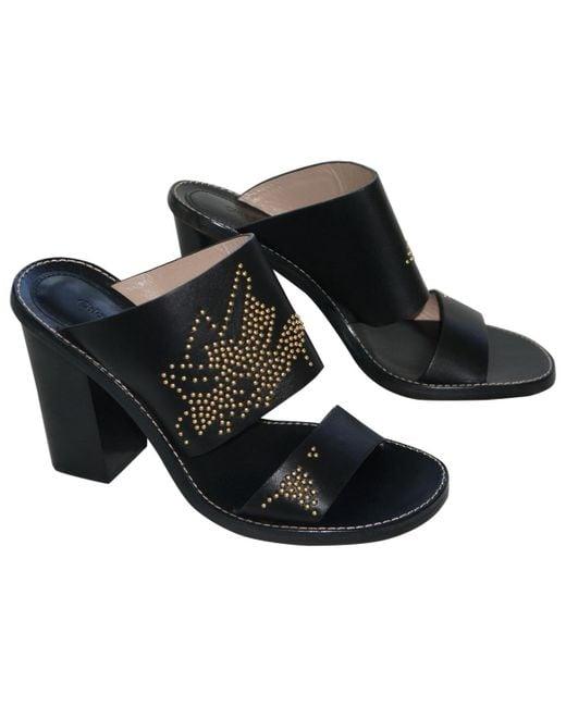 Chloé - Black Pre-owned Susanna Leather Sabots - Lyst