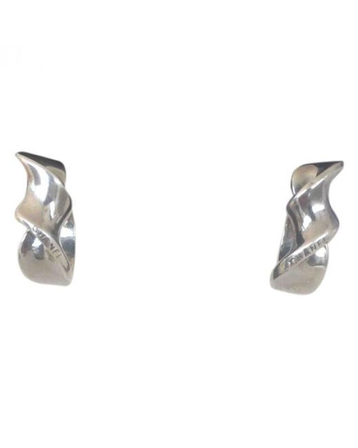 Chanel - Metallic Silver Earrings - Lyst