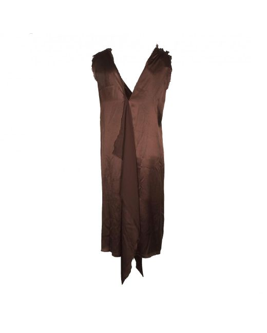 Lanvin - Brown Silk Dress - Lyst