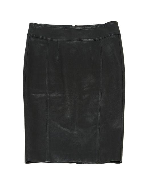 Burberry - Black Leather Skirt - Lyst