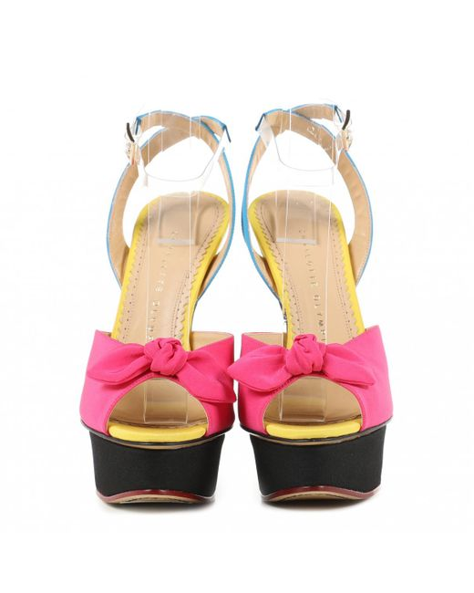 7699905a9c0 ... Charlotte Olympia - Pink Multicolour Leather Heels - Lyst ...
