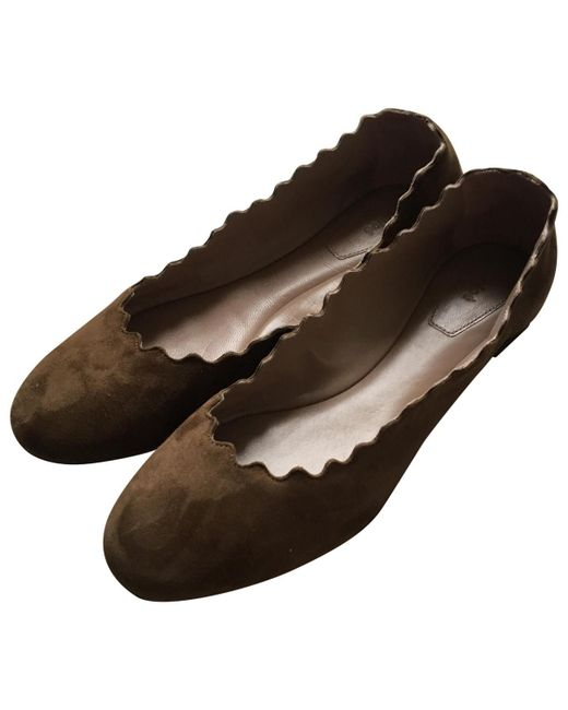 Chloé - Pre-owned Brown Suede Ballet Flats - Lyst
