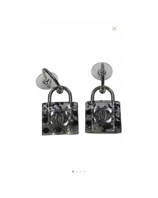 Chanel Cc Metallic Plastic Earrings