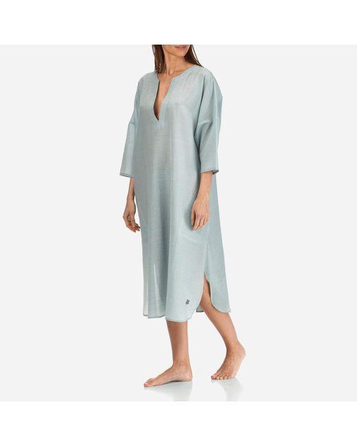 Vilebrequin - Blue Women Long Cotton Silk Tunic Dress Micro Stripes - Lyst