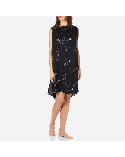 Vilebrequin - Black Women Cowl Neck Silk Voile Dress Fish Dance - Lyst