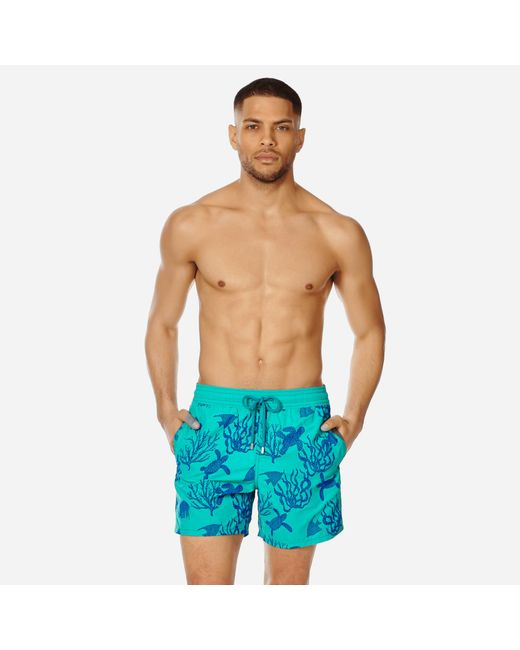 044fdc0c5a Vilebrequin - Blue Men Swimwear Flocked Coral And Turtles for Men - Lyst ...