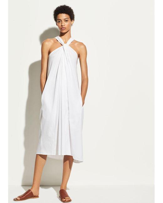 Vince - White Twist Front Halter Dress - Lyst
