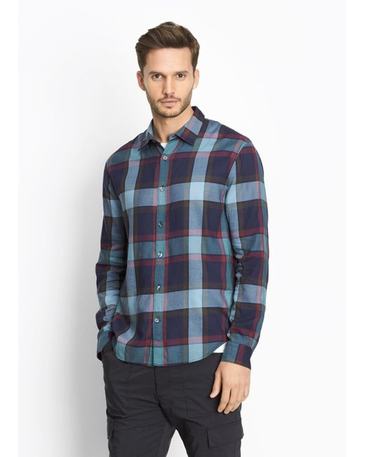 Vince buffalo plaid button front shirt in blue for men lyst for Buffalo plaid men s shirt