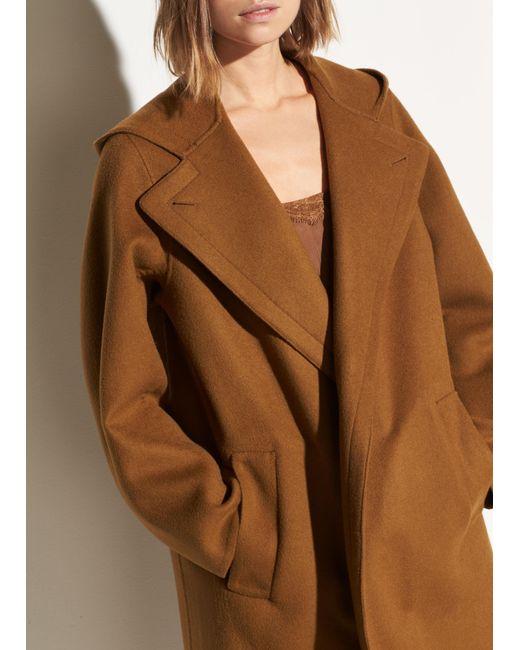 Vince Brown Hooded Wool Coat