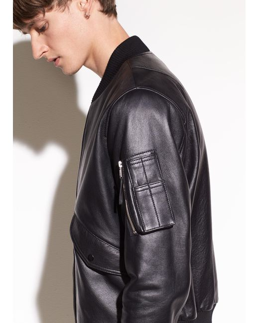 Vince - Black Leather Bomber for Men - Lyst