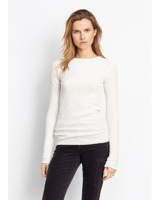 Vince   White Longsleeve Thermal Crew   Lyst