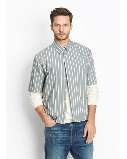 Vince | Green Narrow Stripe Half Sleeve Button Up for Men | Lyst