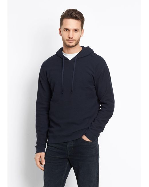 Vince   Blue Waffle Knit Hoodie for Men   Lyst
