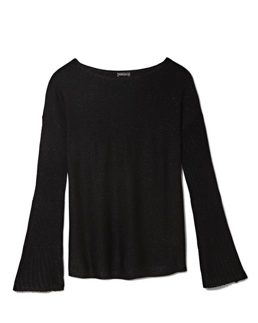 Vince Camuto | Black Rib-knit Flare-sleeve Sweater | Lyst