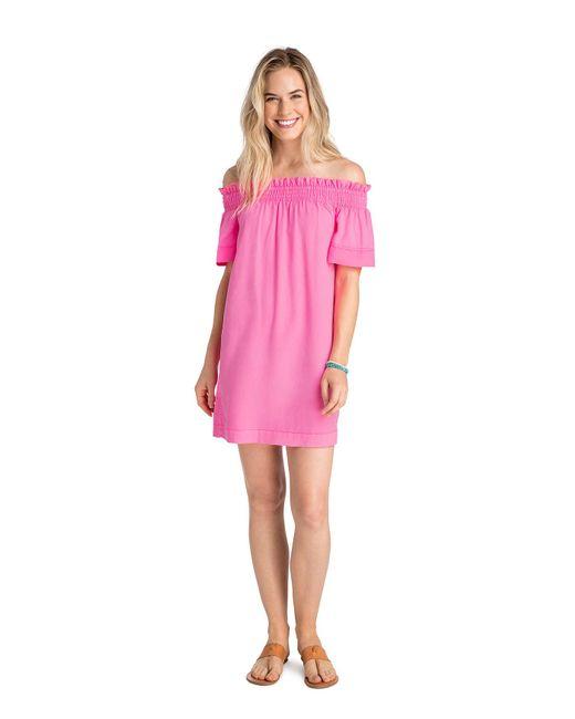 Vineyard Vines - Pink Garment Dyed Madison Off The Shoulder Dress - Lyst