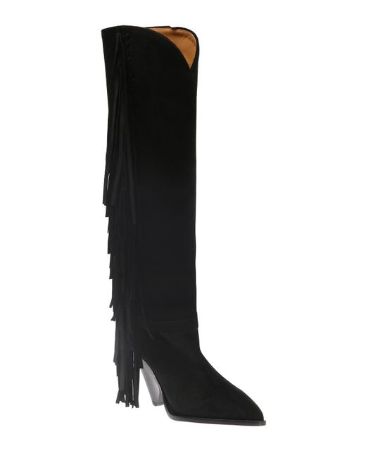 aaa1f8e7ddc ... Lyst Isabel Marant - Black  lenston  Heeled Boots With Fringes ...