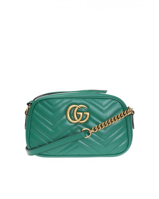 6ed365704 Gucci - Green 'GG Marmont' Quilted Shoulder Bag - Lyst ...