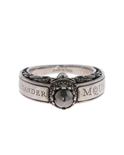 Alexander McQueen - Metallic Ring With Skull - Lyst