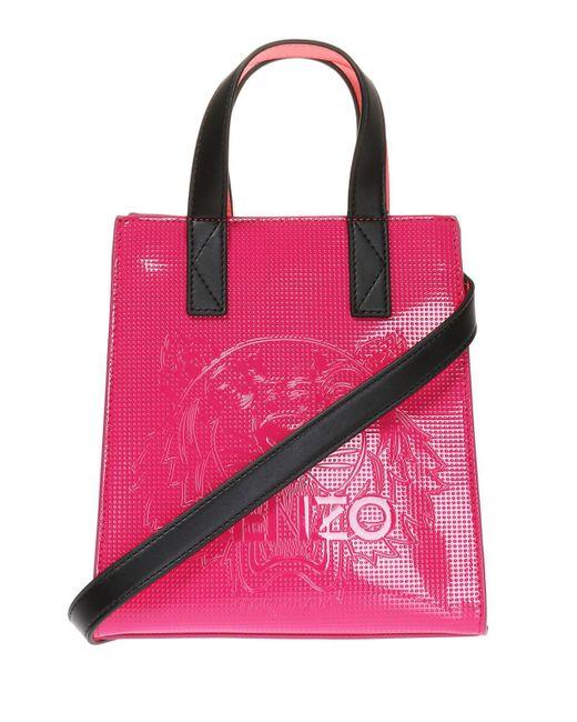 KENZO - Pink Embossed Shoulder Bag - Lyst