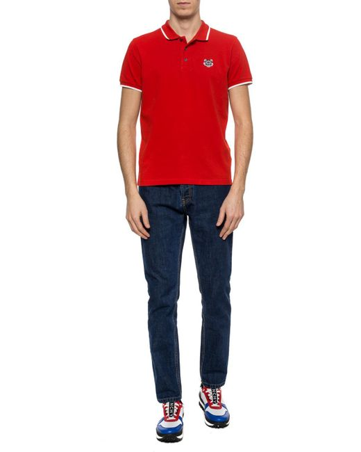 b8c14cc676ef ... KENZO - Red Tiger Head Motif Polo Shirt for Men - Lyst ...