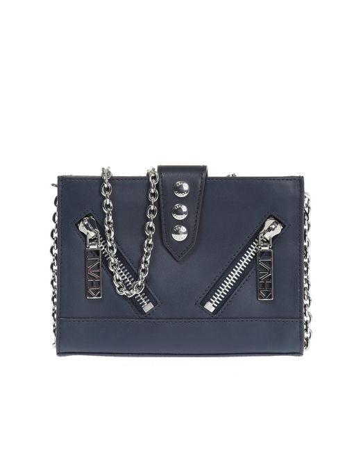 KENZO - Blue Leather Shoulder Bag - Lyst