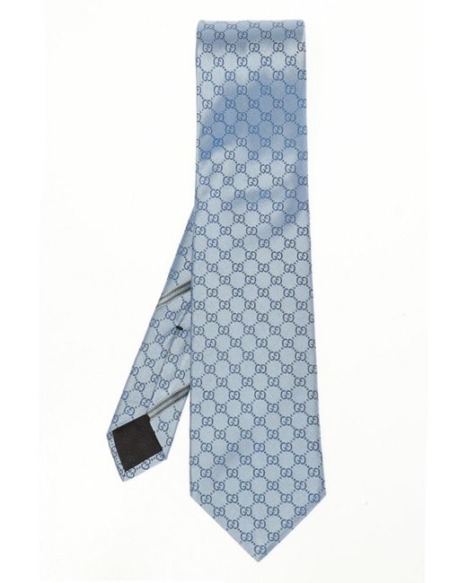 Gucci Blue Embroidered Tie for men