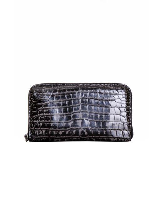 Bottega Veneta - Black Crocodile Zip Around Wallet - Lyst