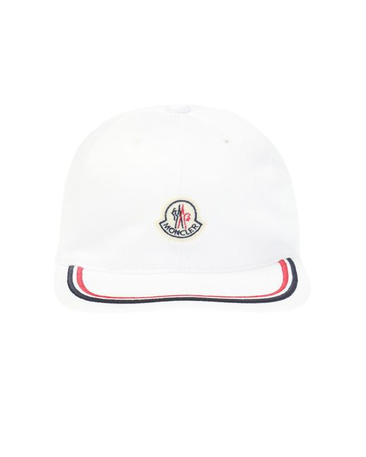 a1f1ff21fbe6 Lyst - Moncler Logo Patch Cotton Hat in White for Men - Save 16%