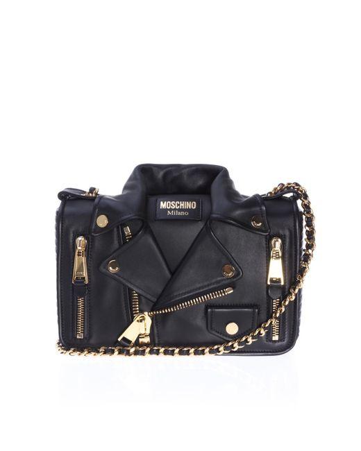 Moschino - Black Leather Shoulder Bag With Biker Jacket Motif - Lyst