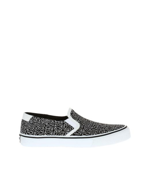 KENZO - Black Printed Slip-on Sneakers for Men - Lyst