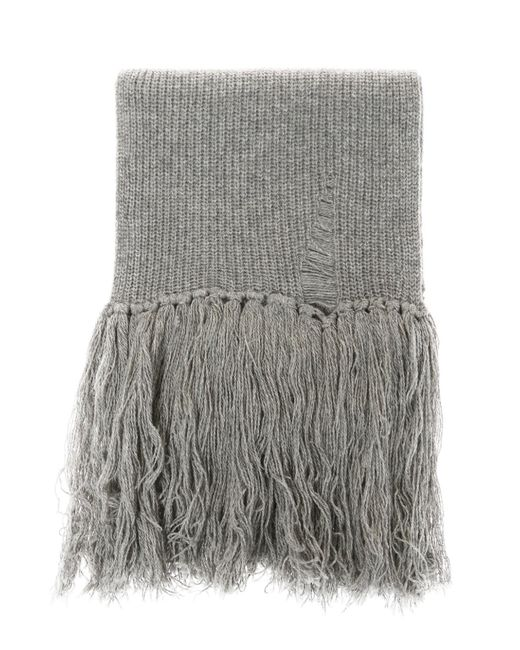 Lanvin - Gray Braided Scarf With Fringes for Men - Lyst