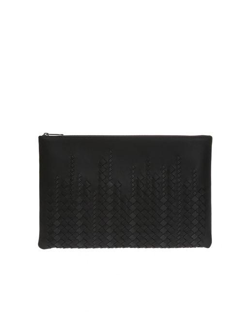 f9d671e2c707 Bottega Veneta - Black Clutch Bag With An  intercciato  Braid for Men - Lyst  ...