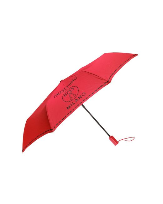 Moschino - Red Foldable Umbrella With Logo Pattern - Lyst