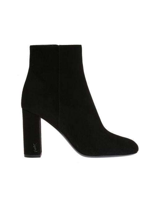 Saint Laurent - Black 'loulou' Heeled Ankle Boots - Lyst