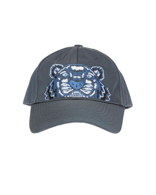 KENZO - Gray Embroidered Tiger Head Baseball Cap for Men - Lyst